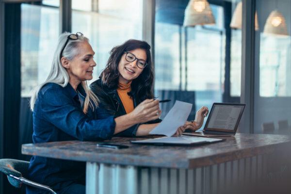 Women having work meeting